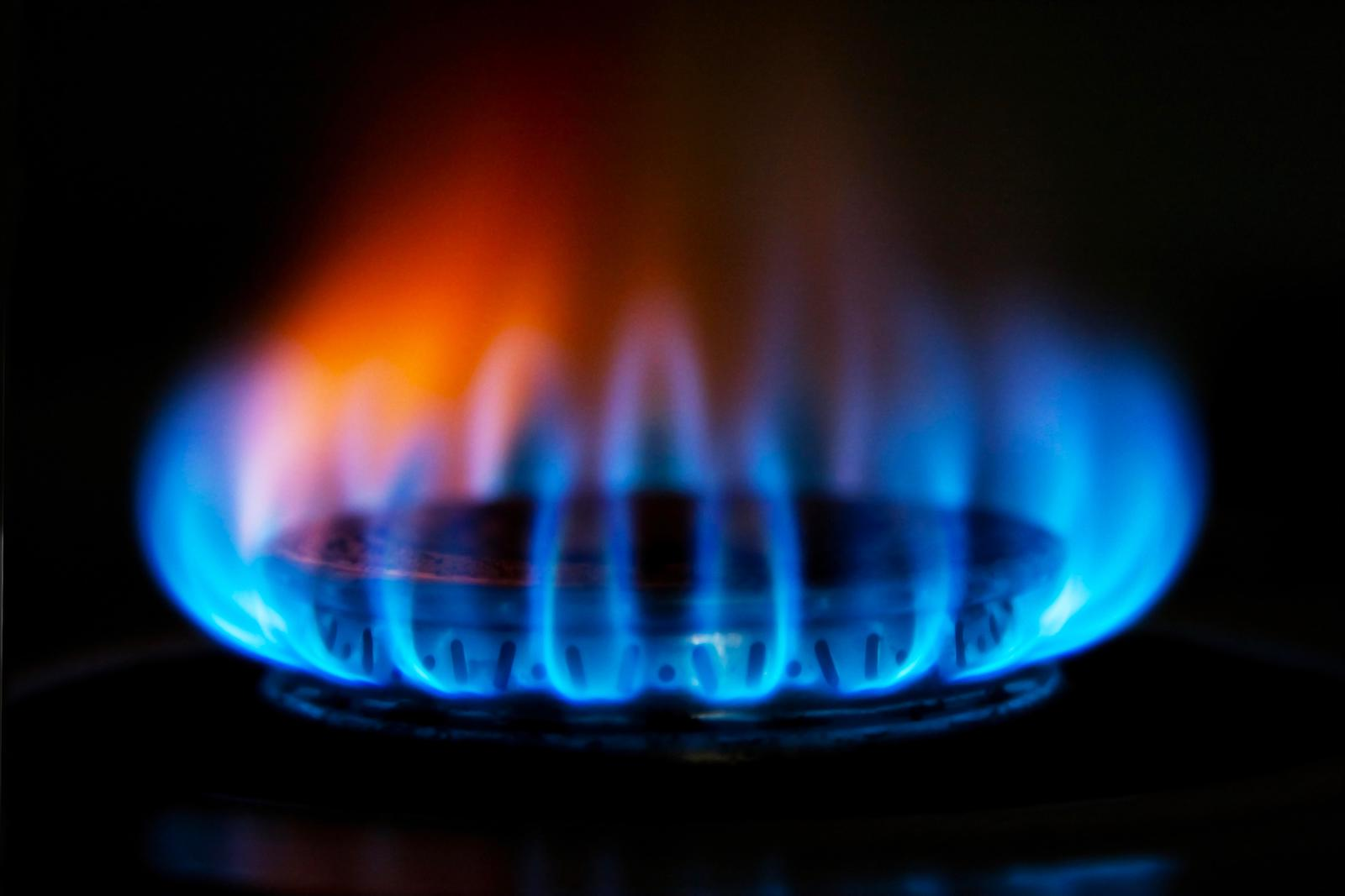 Flame from a gas stove close up