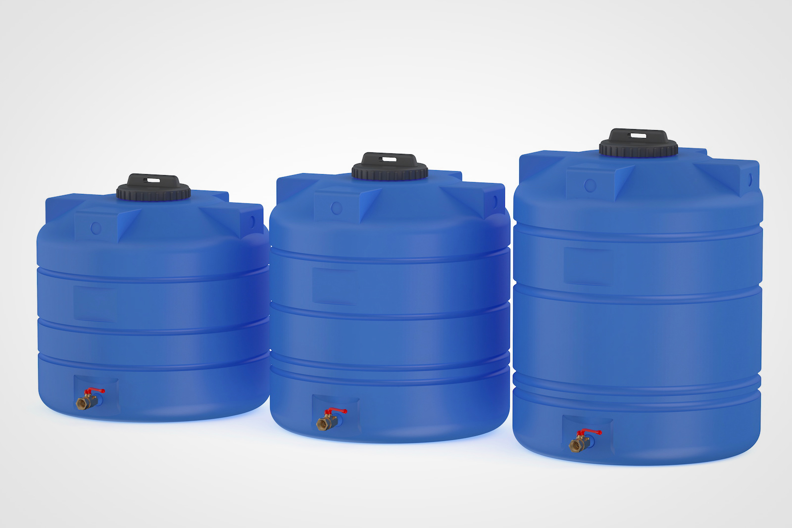 Three large blue emergency water storage containers